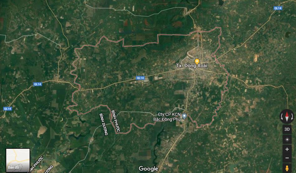 Bản đồ thị xã Đồng Xoài tỉnh Bình Phước 1