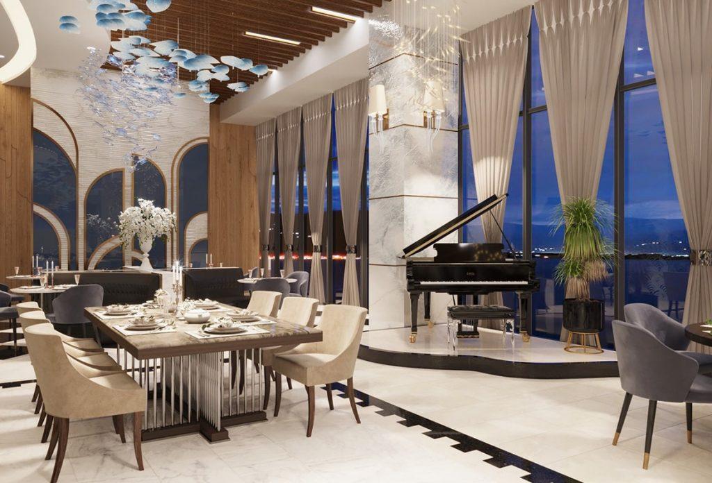 Nhà hàng được thiết kế theo phong cách châu Âu