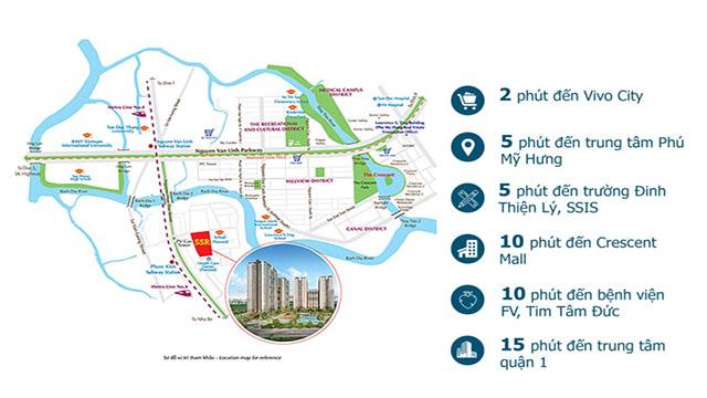 Vị trí dự án tại Sai Gon South Residence nằm ngay vòng Xoay Nguyễn Hữu Thọ