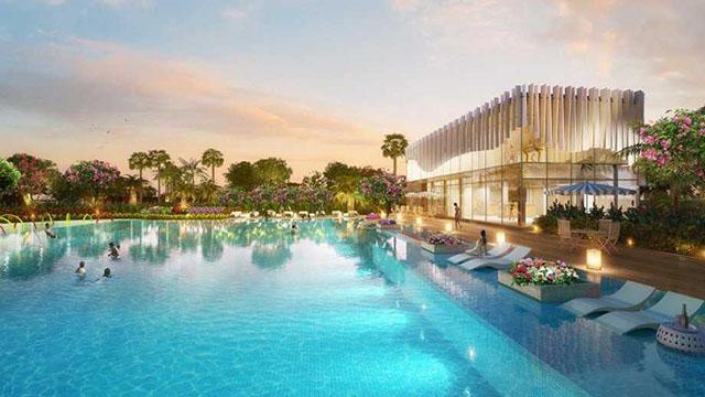 Hồ bơi rộng 1700 m2 trong dự án Sai Gon South Residence