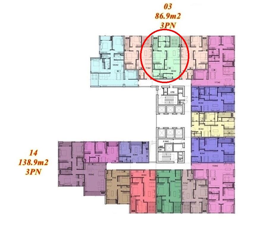 Mặt bằng căn hộ Imperium Town 3 Phòng Ngủ 1