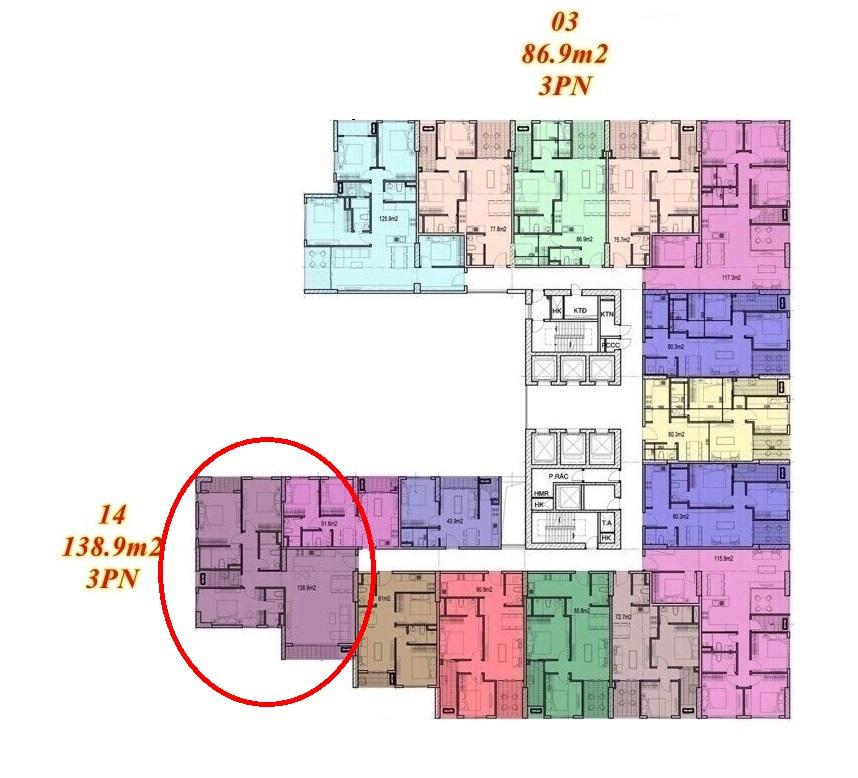 Mặt bằng căn hộ Imperium Town 3 Phòng Ngủ 3