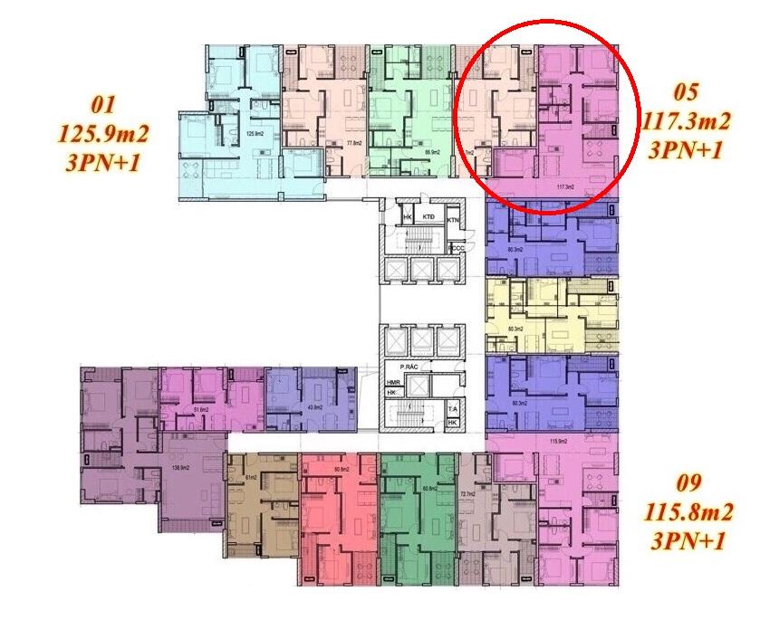 Mặt bằng căn hộ Imperium Town 3 Phòng Ngủ + 1 3