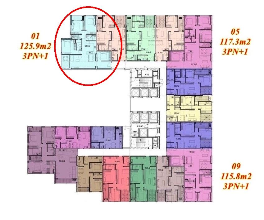 Mặt bằng căn hộ Imperium Town 3 Phòng Ngủ + 1 5