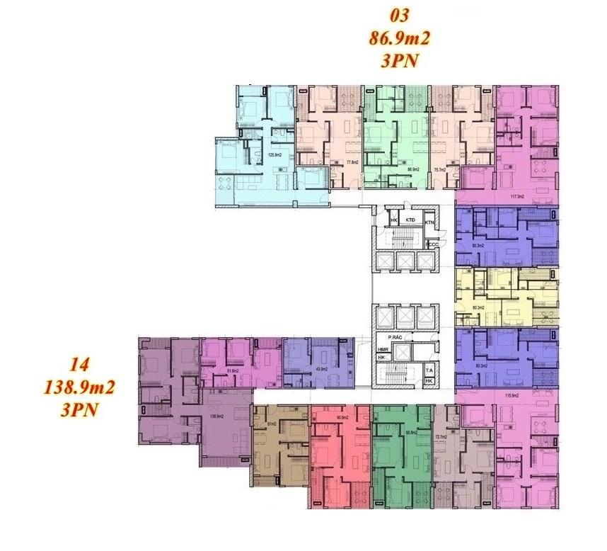 Mặt bằng căn hộ Imperium Town 3 Phòng Ngủ
