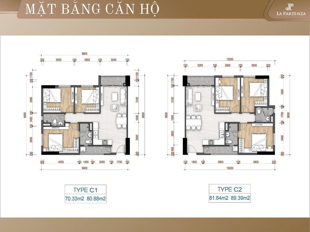 Mặt bằng thiết kế căn hộ dự án La Partenza Nhà Bè